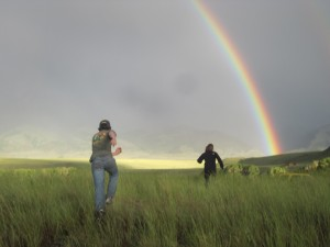 David frolicks after a double rainbow